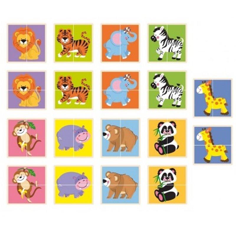 Viga Drevené puzzle zvieratká 36ks