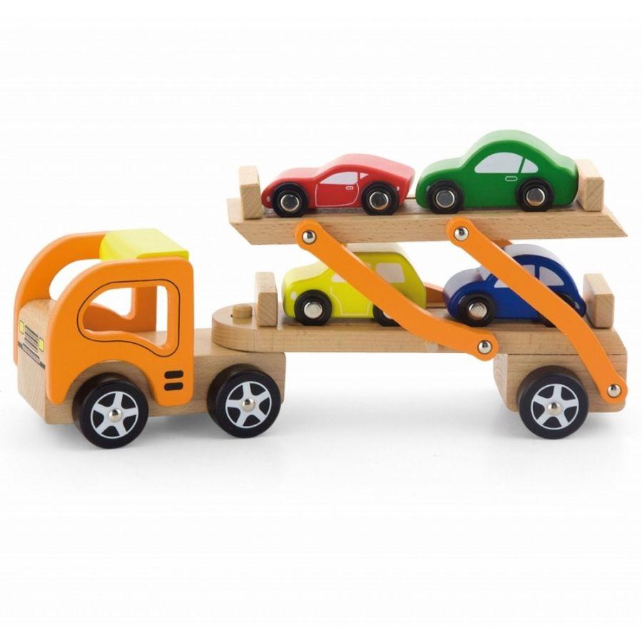 Viga Drevený ťahač s autami