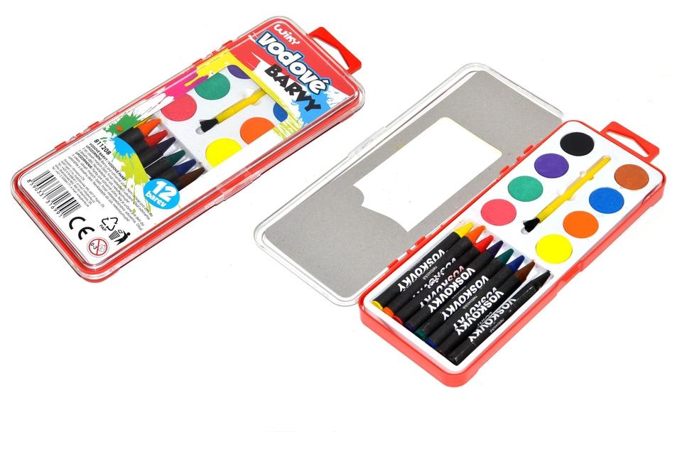 Farby 2v1,vodové a voskovky