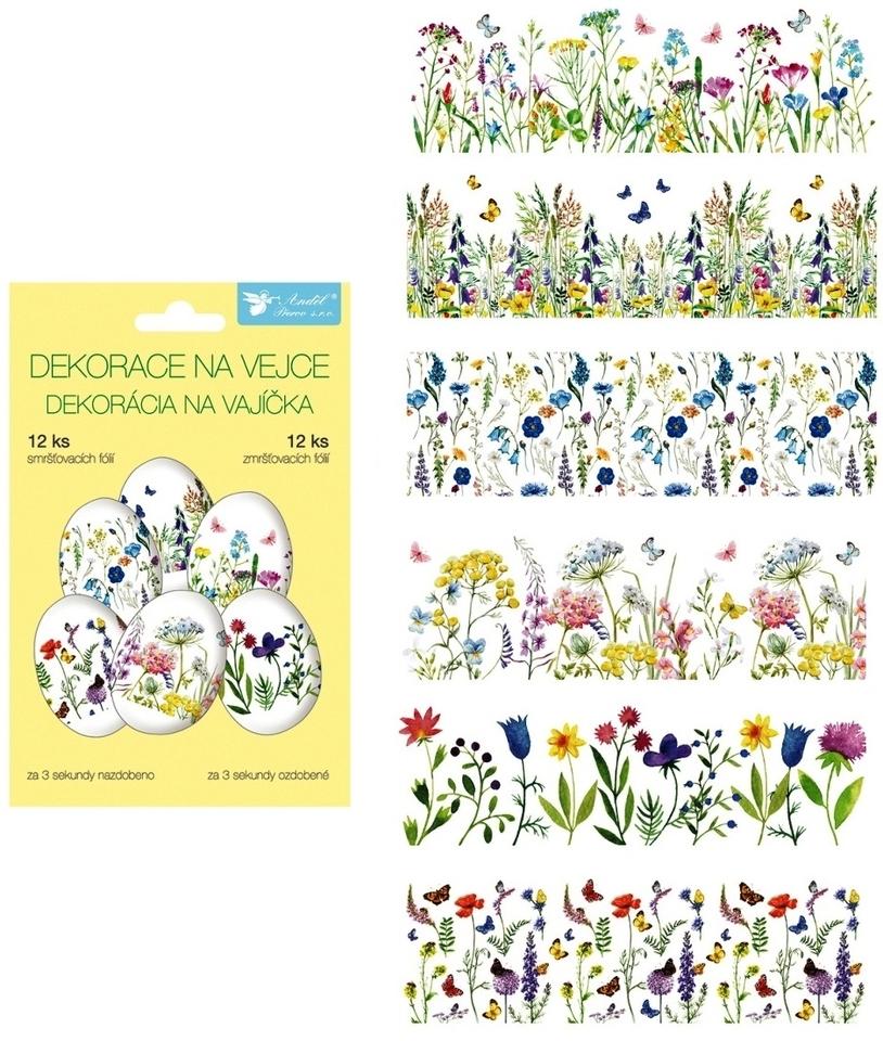 Zmršťovacia dekorácie na vajíčka - jemné kvetiny, 12ks