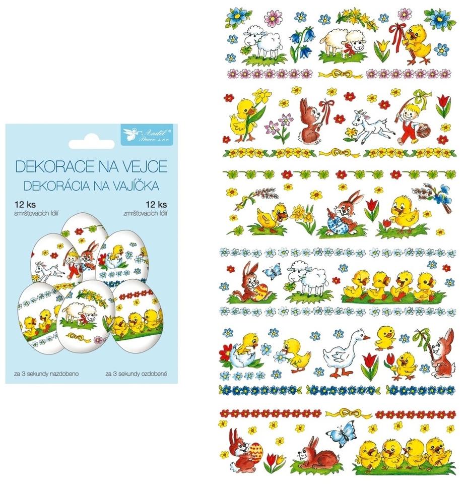 Zmršťovacia dekorácia na vajíčka - tradičné motívy, 12ks