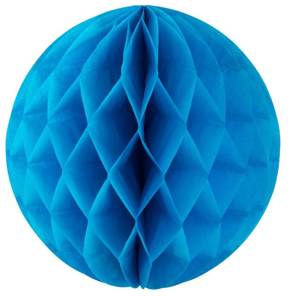 Dekoračná papierová guľa modrá 15cm