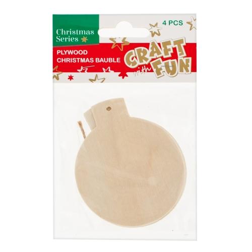 Vianočná dekorácia Drevená guľa na zavesenie 4ks