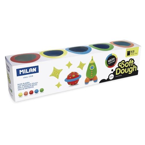 Plastelína Soft Dough neónové farby sada 5ks