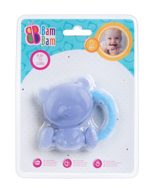 BamBam hryzátko s hrkálkou medvedík