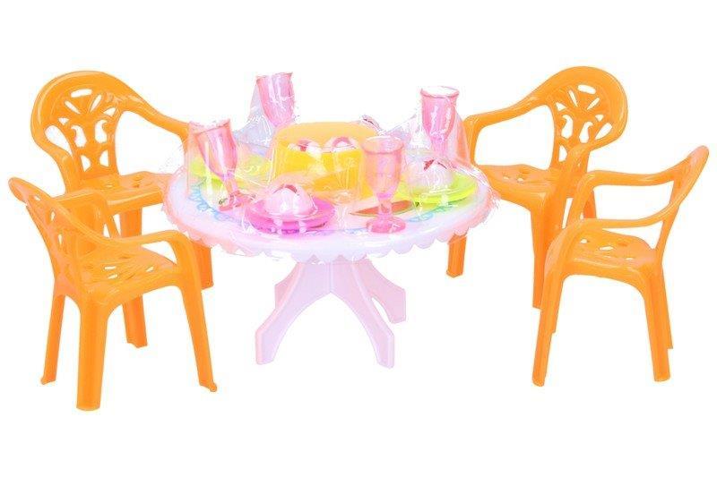 Jedálenský stôl s doplnkami - oranžová