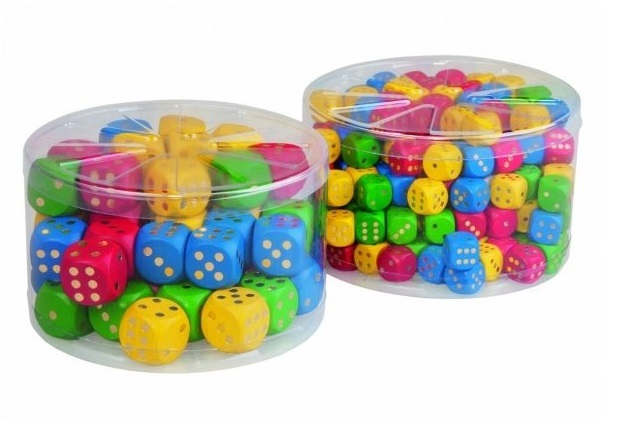 Farebné drevené hracie kocky 16mm 200ks