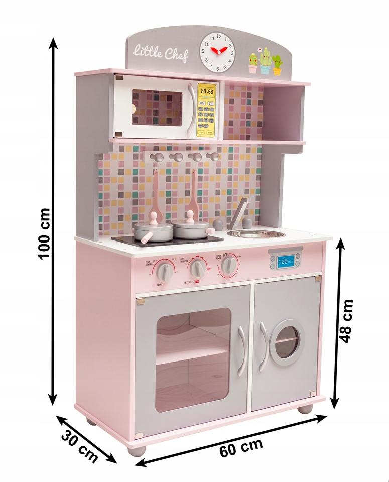 Kuchynka drevená ružová 100x60x30cm