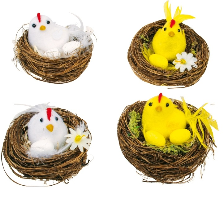 Veľkonočné kuriatka v hniezde 7cm - žltá