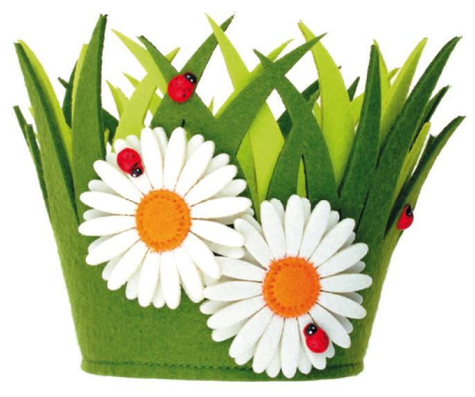 Zelený kvetináč s kvetinkami 15x15cm