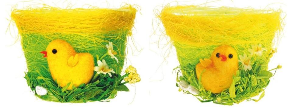 Zelený kvetináč s kuriatkom 11x8cm