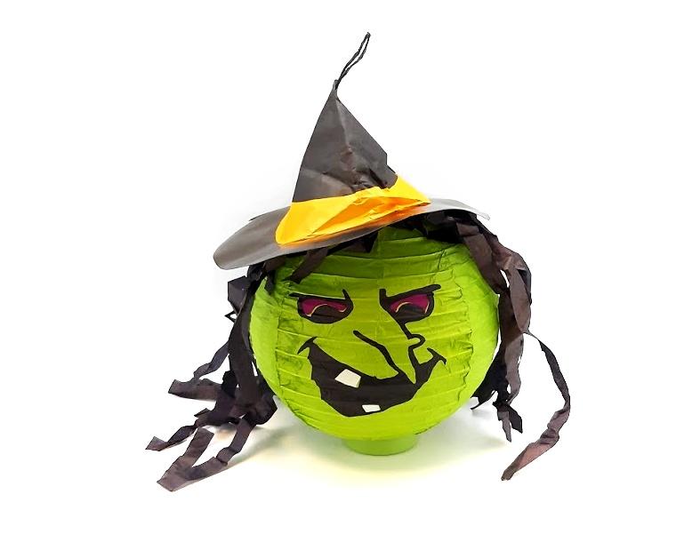 Lampion svietiaci Čarodejnica s klobúkom 20cm