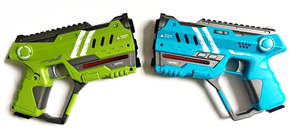 Laser hra pe dvoch 22cm - modrá a zelená farba