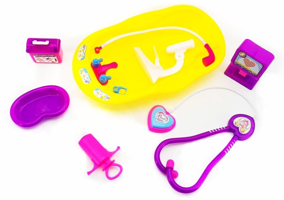 Detská lekárska súprava 7ks - ružová