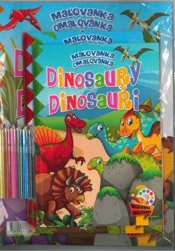 Maľovanka s aktivitami Dinosaury