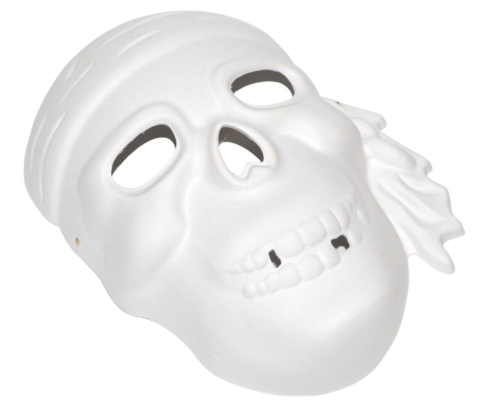 Papierová maska biela - lebka pirát