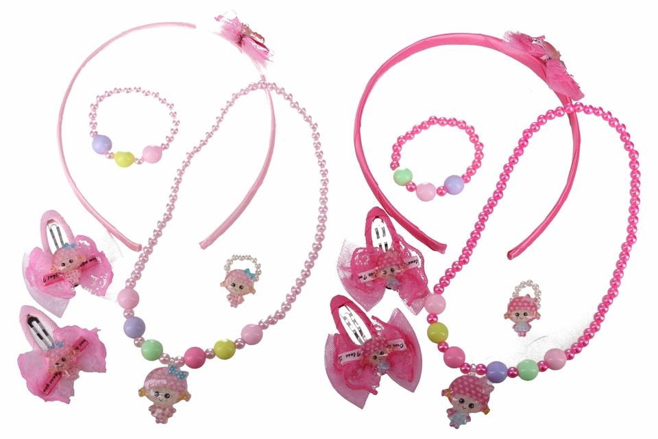 Detské šperky set 5ks - bledo ružová