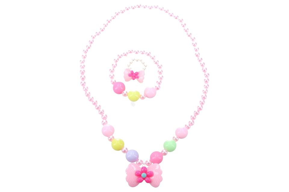 Ružový náhrdelník s motýlikom a náramkom set