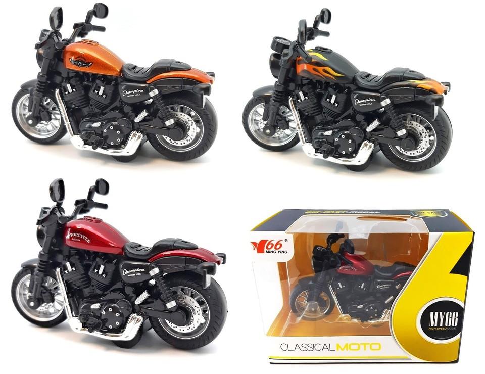 Kovová motorka s efektami 11cm - čierna