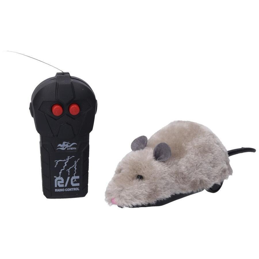 Myš RC na diaľkové ovládanie 23cm - šedá
