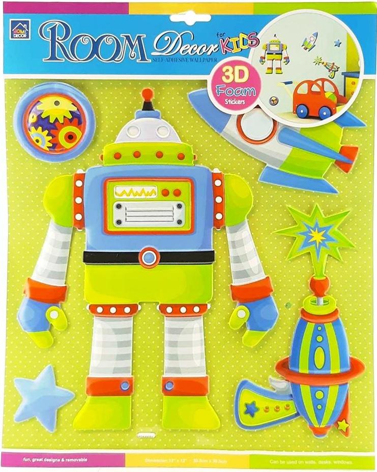 Nálepka na stenu - robot 5ks