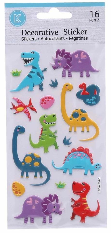 3D nálepky Dino 16ks