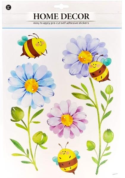 Nálepky na stenu trblietavé kvety a včielky 5ks
