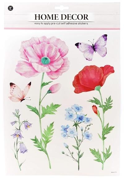 Nálepky na stenu trblietavé kvety 6ks