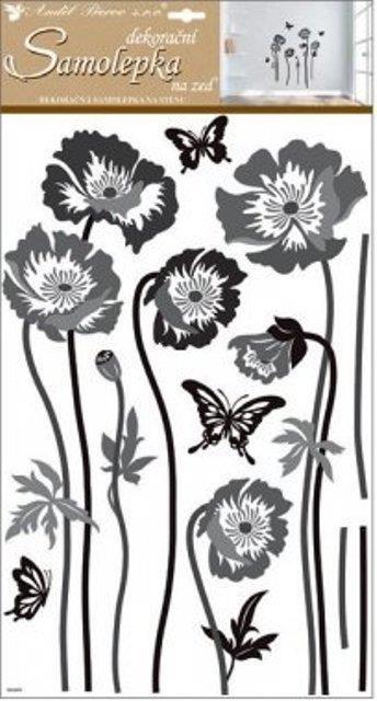 Nálepky - Kvety čiernošedé