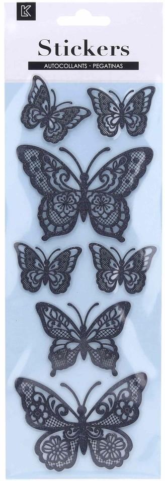 Nálepky motýle Glitter 7ks