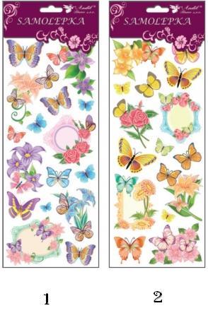 Nálepky motýle + kvety glitrové