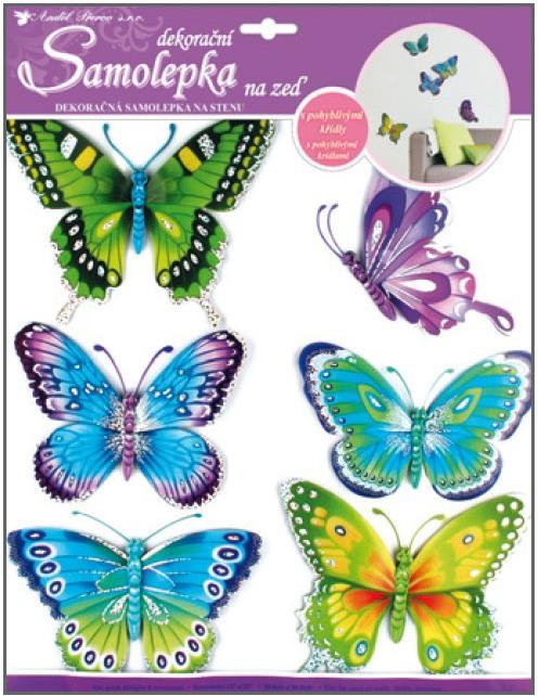 Samolepka motýle s pohyblivými krídlami 6ks