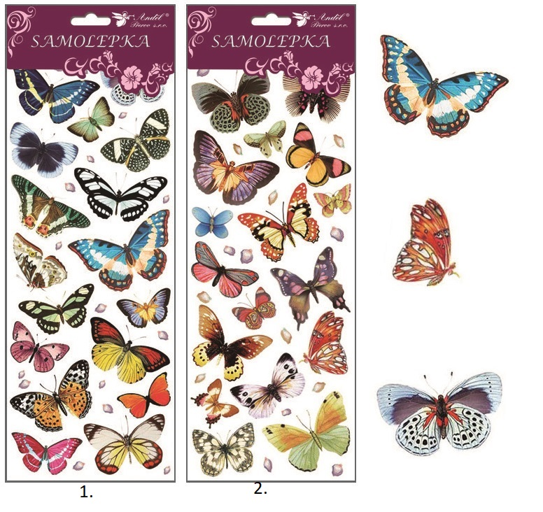 Samolepky motýle s glitrami 12x35cm