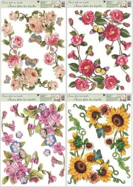 Nálepky - Okenné rohové kvety
