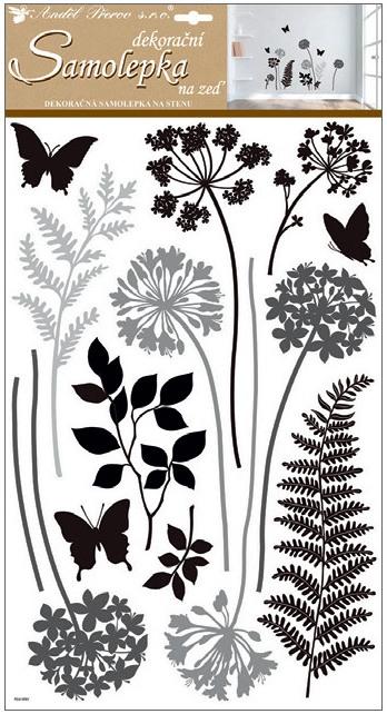 Samolepka rastlinky čierno-šedé 32x60cm