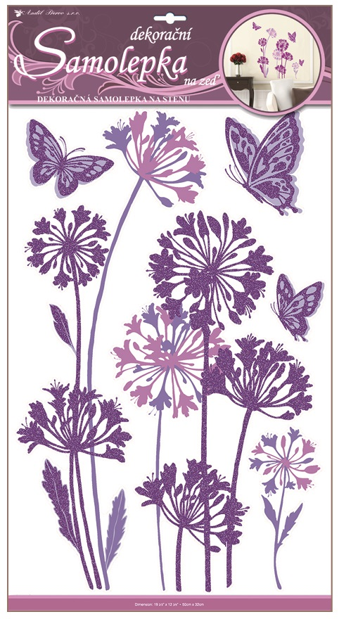 Samolepka ružové kvety a motýle 32x60cm
