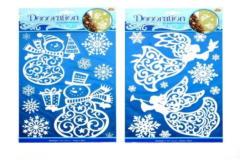 Vianočné nálepky 31x19cm - snehuliak