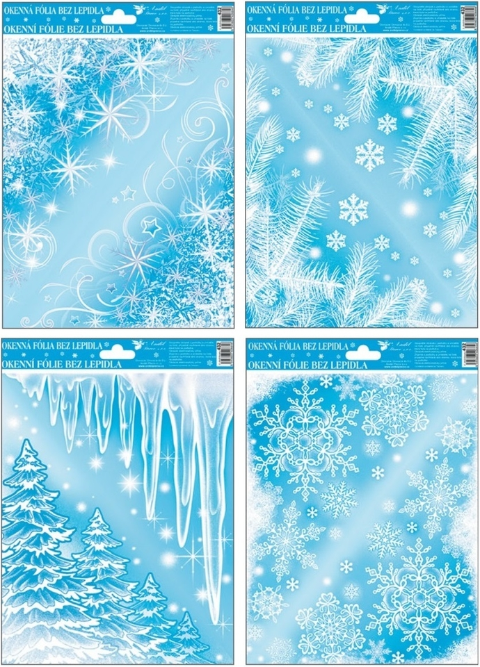 Vianočné nálepky 30x20cm - stromy a cencúle