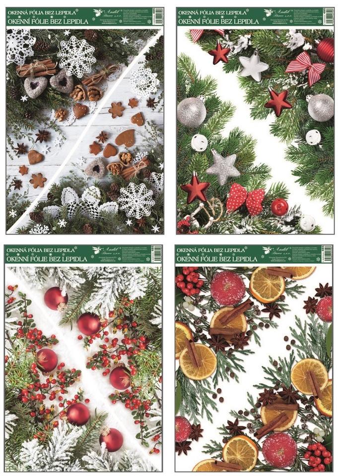 Vianočné nálepky 38x30cm - šípky–červené gule