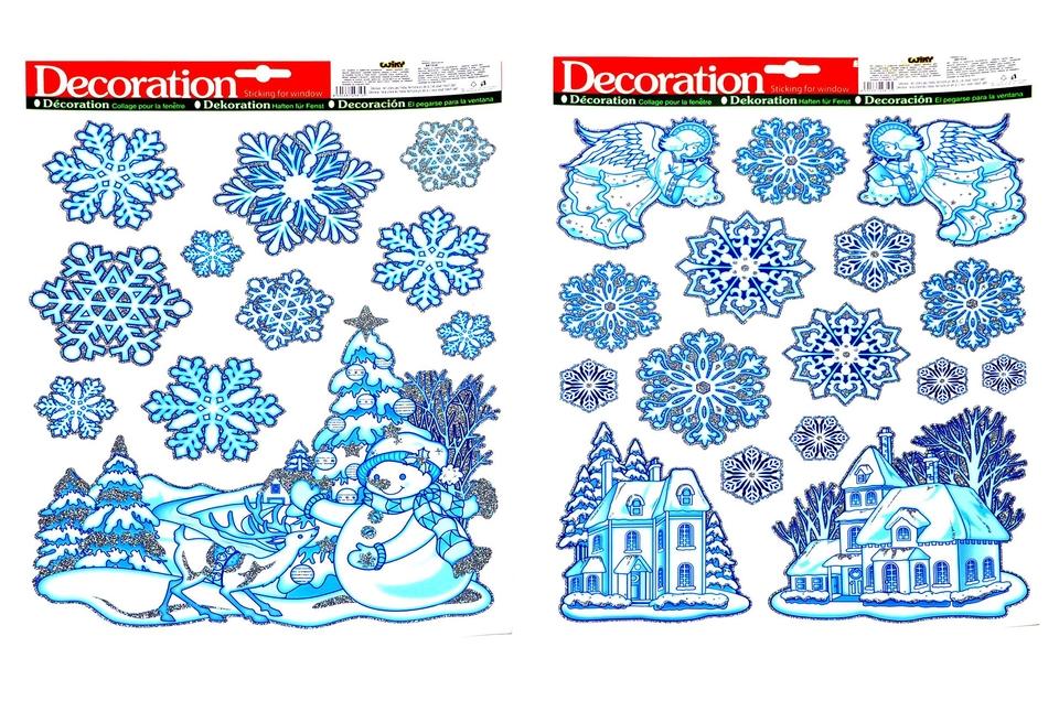 Vianočné nálepky 41x29cm - snehuliak