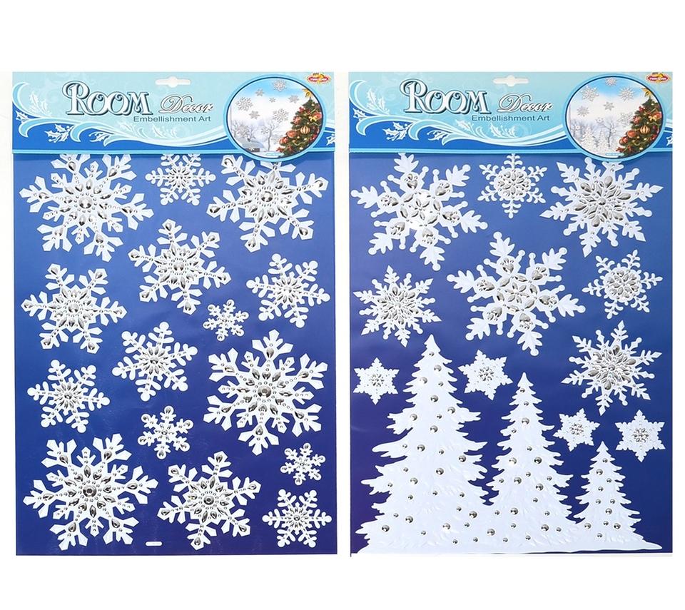 Vianočné nálepky 49x29cm - stromčeky