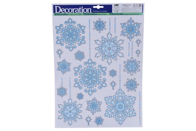 Vianočné nálepky 41x29cm - snehové vločky