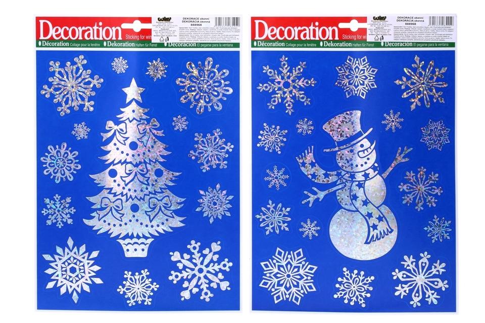 Vianočné nálepky 31x22cm - snehuliak