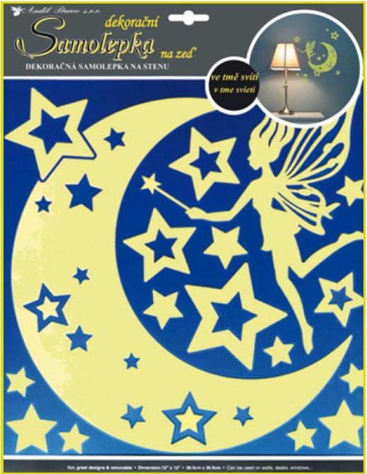 Nálepky víla, hviezdy, mesiac svietiace