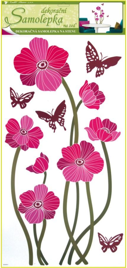 Nálepky vlčí mak + motýle