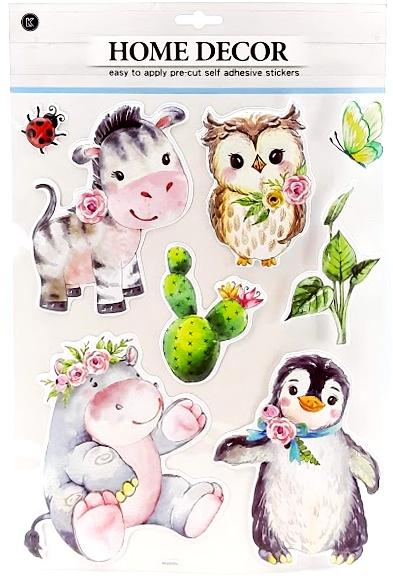 Nálepky na stenu zvieratká 3D 8ks