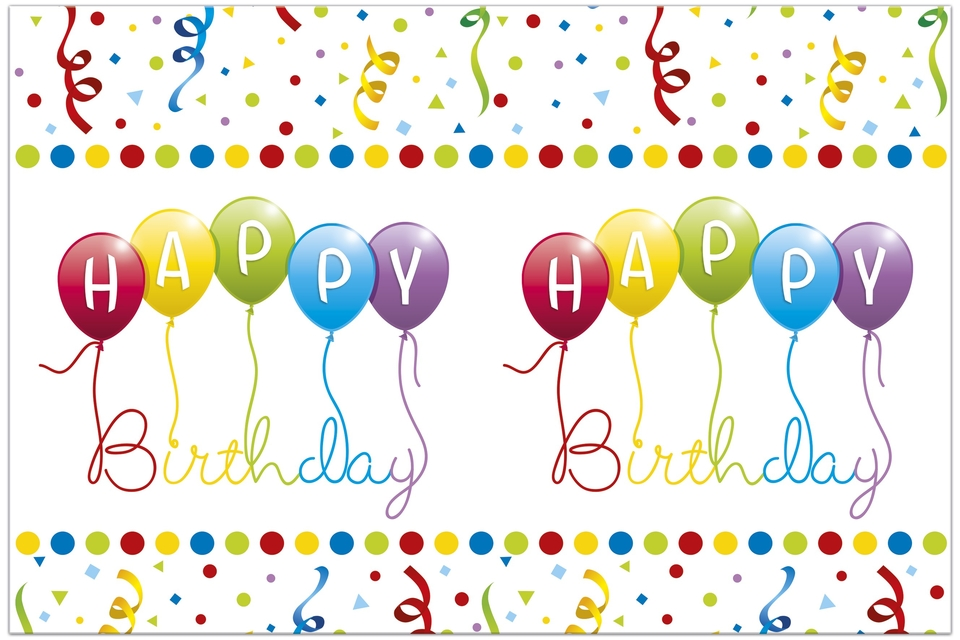 Obrus Happy Birthday 180x120cm