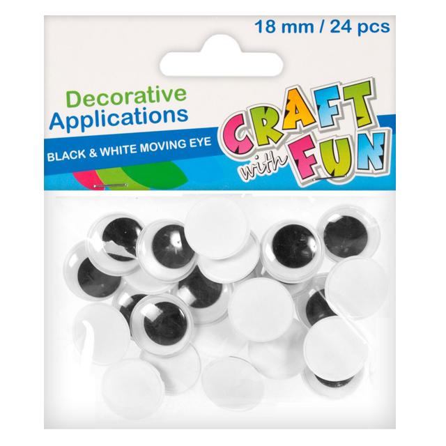 Craft with Fun Dekorácia pohyblivé oči 24ks