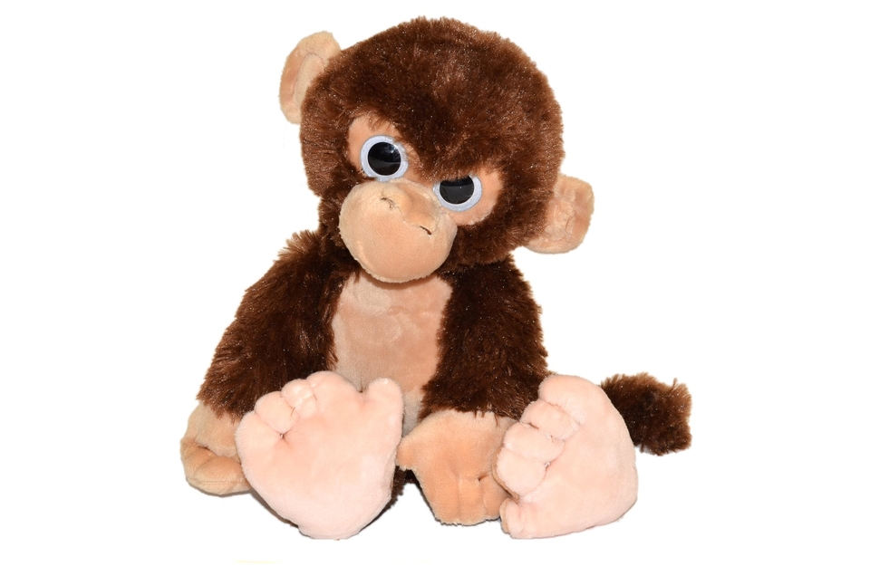 Opica plyšová 32 cm - hnedo–biela