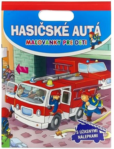 Hasičské autá maľovánky s nálepkami pre deti